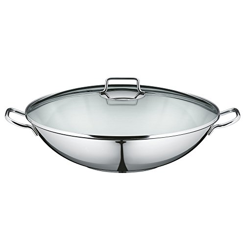 wmf macao wok set 2 teilig wok pfanne 36 cm mit glasdeckel cromargan edelstahl poliert. Black Bedroom Furniture Sets. Home Design Ideas